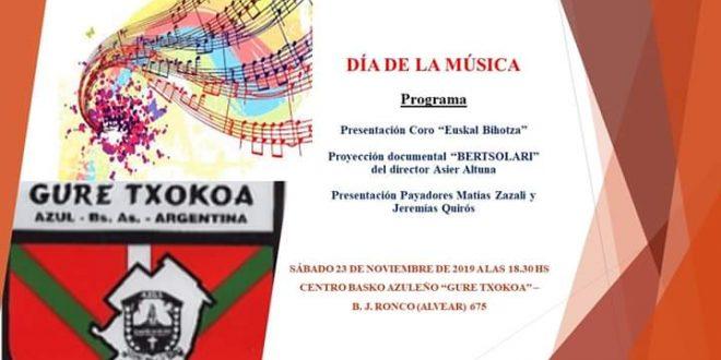 Centro Basko Azuleño celebrará el Día de la Música